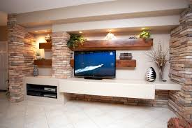 Small Picture Media Wall w Alder Beams and Stone Columns Contemporary