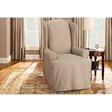 sure fit duck solid wing chair slipcover linen sf27661