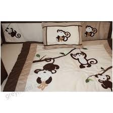 monkey 9 piece crib bedding set brown