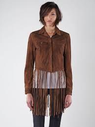 sel brown l sunita leather fringe jacket sz s nwt msrp 728