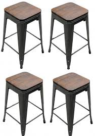 distressed metal bar stools. simple stools set of 4 distressed gunmetal stamped stacking bar stools w wood seat to metal d