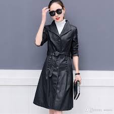 2019 women faux leather jacket suede trench coats long duster coat f0220 fashion black pu leather overcoat gray purple from sarmit 58 3 dhgate com