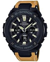 digital watches for men shop digital watches for men macy s g shock men s solar analog digital yellow brown faux leather strap watch 59mm