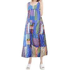 Esharing Womens Sleeveless Printed Plus Size Tank Dress O