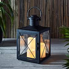 square black battery operated lantern with 3 flameless led candles for indoor outdoor use 0