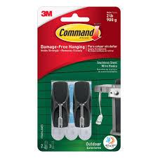 3m metal hooks. command medium outdoor stainless steel wire hooks with foam strips (2-hooks) ( 3m metal u