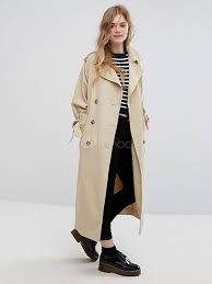 trench coat khaki long sleeve turndown collar windproof coat for women no 1
