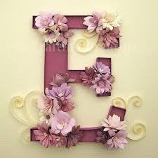 diy quilled e monogram with fringed flowers fringed flowers decorated letter