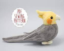 Plush Pattern Extraordinary Cockatiel Stuffed Animal Sewing Pattern Digital Download BeeZeeArt