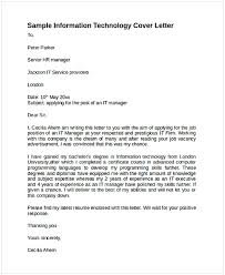 A Cover Letter For A Job Application Cover Letter For Job Application In Information Technology