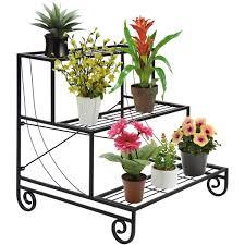 3 Tier Metal Plant Stand Decorative Planter Holder Flower Pot Shelf Rack -  Black