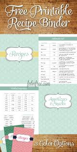Recipe Labels Templates Free Recipe Binder In 3 Color Options Yummy Recipe