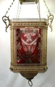 chandeliers antique oil lamp chandelier etched ruby glass panel pull down for