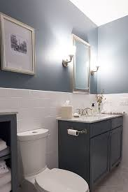 contemporary full bathroom half wall with tile