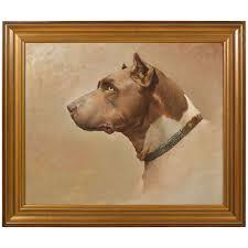 framed oil painting of dog side portrait for