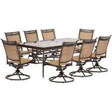 Aluminum Outdoor Dining Table Hanover Fontana 9 Piece Aluminum Rectangular Outdoor Dining Set