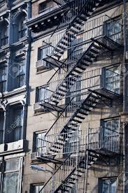 Outside Metal Fire Escape Stairs New York City USA Stock Photo - New york apartments outside