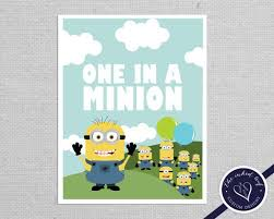 personalized one in a minion inspired by the deable me featuring gru s minions printable pdf nursery or kids room decor