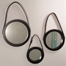 captains mirror round mirror with leather hanging strap