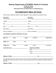 watercraft bill of sale kansas bill of sale fill online printable fillable