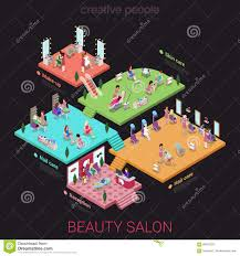 flat 3d isometric beauty salon concept abstract 3d office building