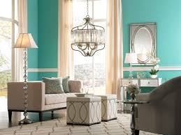... Turquoise Living Room Ideas Mid Century Design With Wall Paint Color  Overlooking Unique Chandelier Brown Orange ...