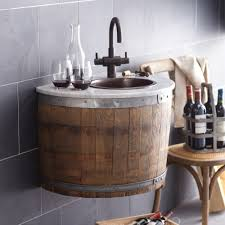 bordeaux wine barrel wallmounted bathroom vanity base  native trails