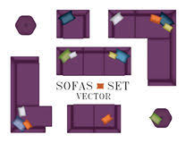 creative furniture icons set flat design. sofas armchair set top view furniture pouf pillows for your interior design creative icons flat g
