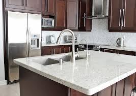 Dark Shabby White Tile Backsplash White Cabinets Black Countertops