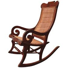 19th century st croix regency mahogany and cane rocking chair