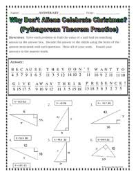 Right Triangles - Pythagorean Theorem Christmas Riddle Practice ...
