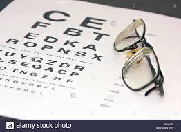 Prescription Eyeglasses Are Resting On An Eye Chart