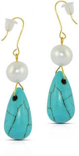vera perla 10k gold pearl and turquoise delicate earrings french wire closure
