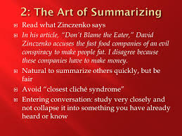"the moves that matter in academic writing ppt  8 2 the art of summarizing what zinczenko says in his article ""don t blame the eater"