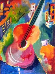 beginners abstract turorial of art guitar with vibrant colors step by step free tutorial