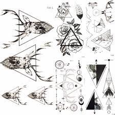 геометрический треугольники лось олень временные татуировки для женщин руки Rose