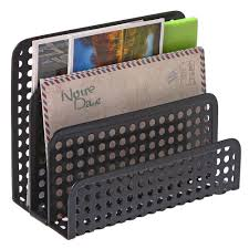 3 Slot Perforated Metal <b>Mesh Mail Sorter</b> Rack, Desktop Letter and ...