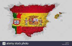 Spagna e Portogallo bandiera montato con blocchi oltre i confini di paesi  Foto stock - Alamy