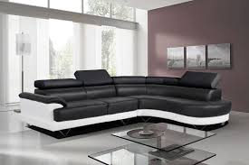 cosmo stylist black and white leather corner sofa righthand