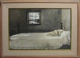Andrew Wyeth Master Bedroom   Signed   Dog On Bed Framed Lithograph