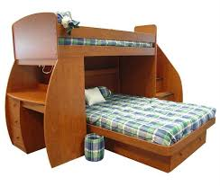 This uniquely shaped model features a lower bunk set perpendicular to the  frame plus stairs