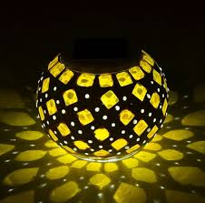 solar powered mosaic glass ball led garden lights color changing solar table lamps waterproof