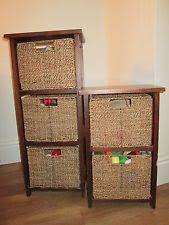 Beautiful pair of seagrass storage units / wicker / rattan baskets shelf  cabinet storage baskets for