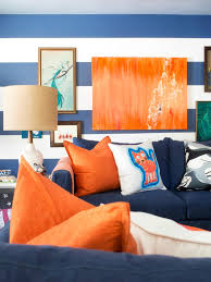 ... Living Room, Kid And Pet Friendly Living Room With Striped Walls Blue  And Orange Decor ...