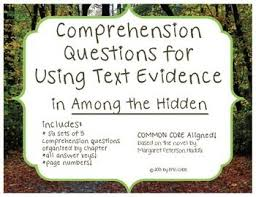 images about among the hidden on pinterest  comprehension  among the hidden comprehension questions for using text evidence common core