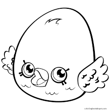 Cute Egg Coloring Page Eggchic Petkins Shopkins