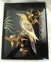 vintage oriental black mother of pearl decorative hanging wall plaque panels estate 3