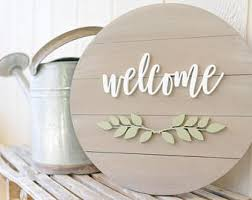 Interior Welcome Wood Sign Wooden Welcome Sign Home Decor Signs Wooden Round Sign Wedding Gift Ideas Housewarming Gift Farmhouse Decor Etsy Home Sign Ideas Etsy