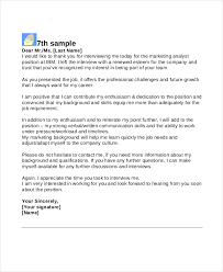 Ideas Collection 8 Interview Thank You Letters Free Sample Example