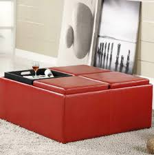 red leather ottoman coffee table image and description